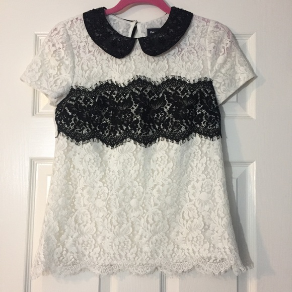 Peter Som Tops - Peter Som For Anthro Black & White Lace Top Size 2